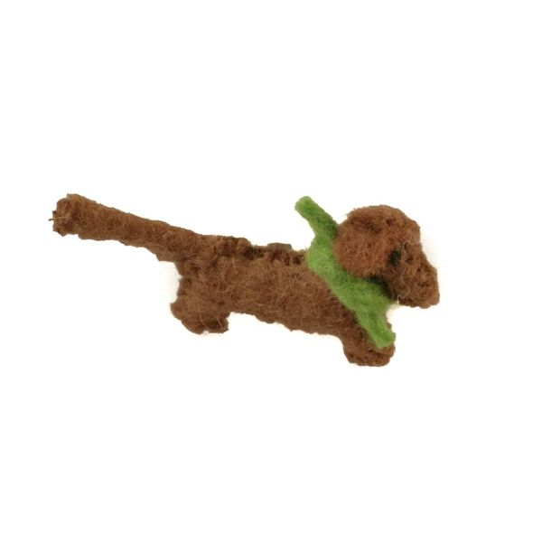 Sausage dog brown felt gree scarf brooch 010