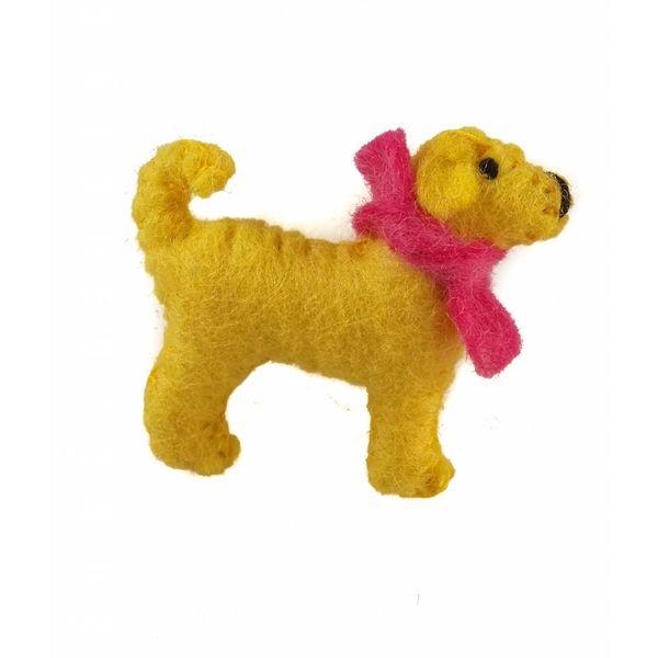Marley pup yellow felt brooch 014