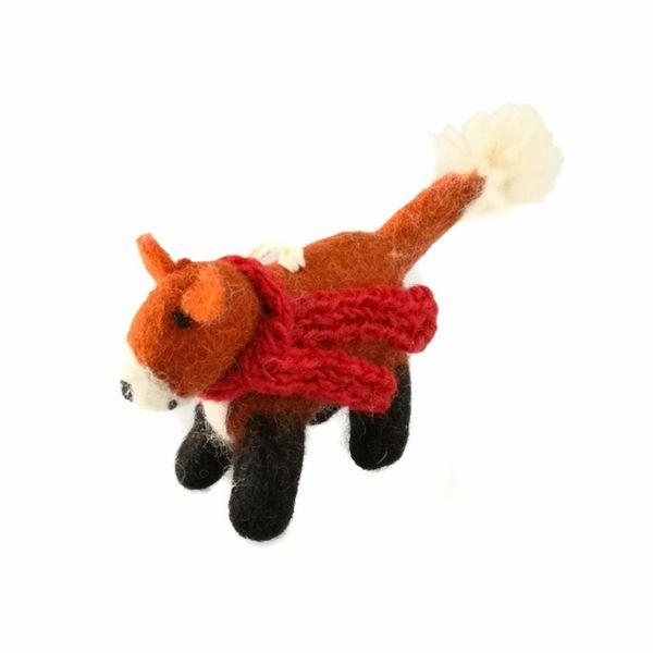 Fox red scarf felt toy decoration 027