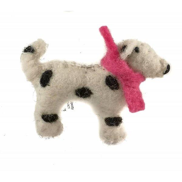 Spotty puppy pink scarf felt brooch 005