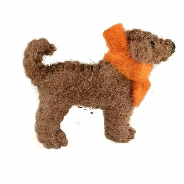 Marley pup brown brooch