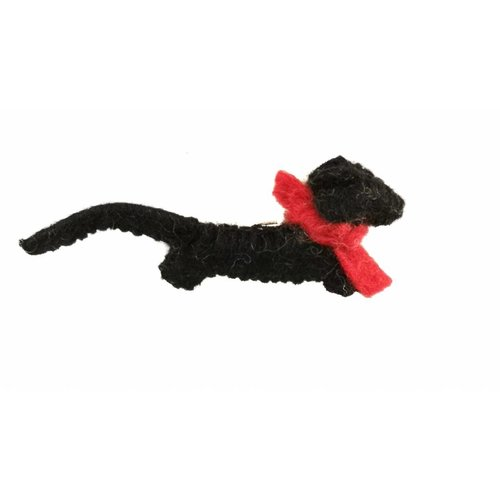 Amica Accessories Sausage dog black Felt brooch red scarf 012