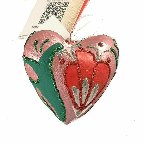 Kosa Deresa Rote und grüne feenhafte Herzdekoration 024