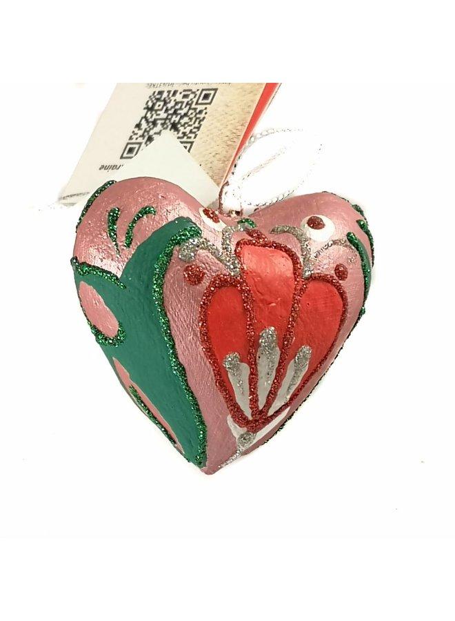 Rote und grüne feenhafte Herzdekoration 024
