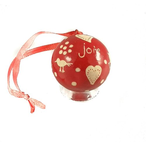 New Overseas Traders Bauble round small paper mache