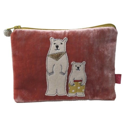 LUA Two Bears Velvet purse