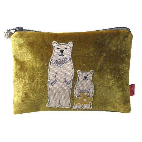 Two Bears Velvet purse
