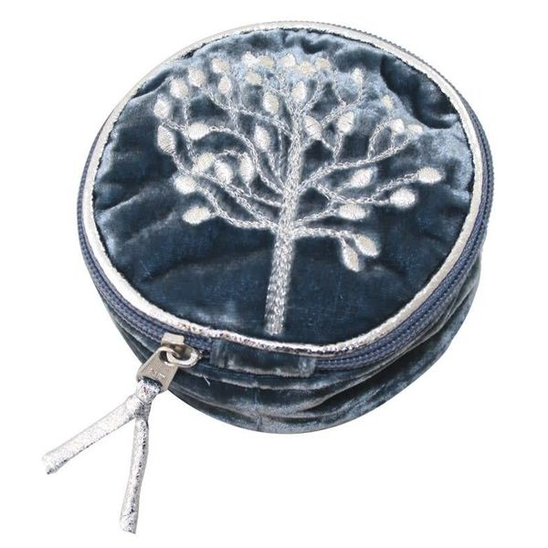 Mulberry Tree round jewellery bag velvet and embroidered