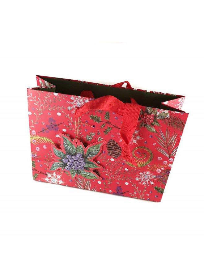 Festliche Geschenktüte Red Foliage Medium 265 x 311x102mm