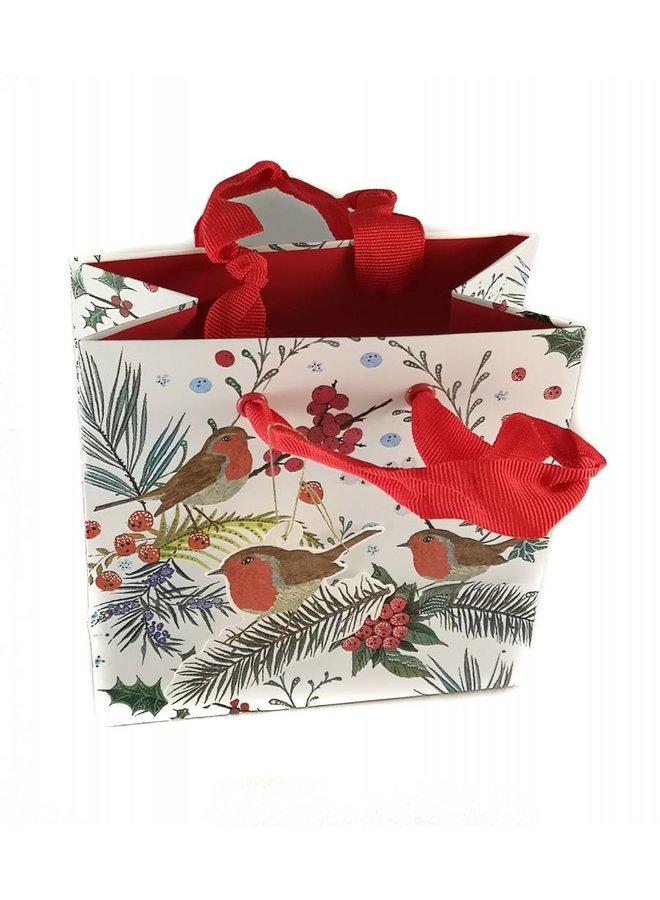 Festive Gift Bag Robin Foliage Mini 133x133x75m