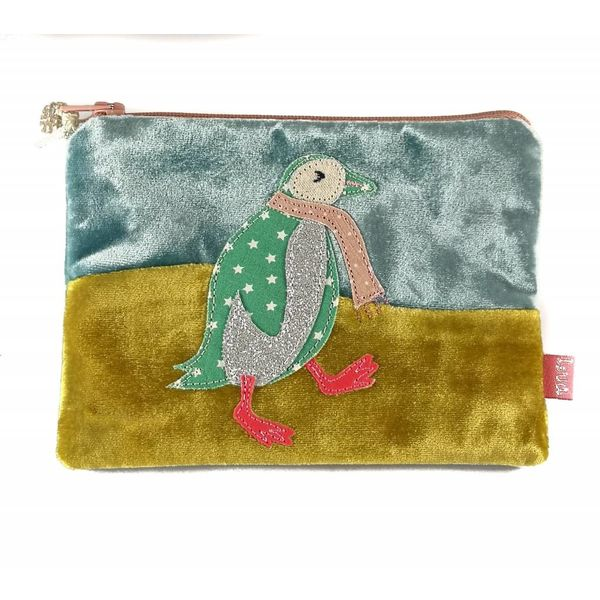 Dancing Penguin velvet appliqued purse