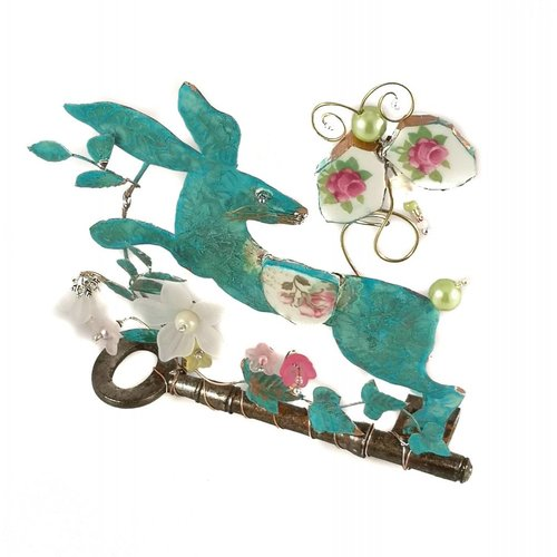 Beastie Assemblage Large Hare and Butterfly on Key Assemblage 026