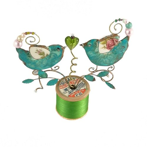 Beastie Assemblage Lovebirds on Cotton Reel Assemblage 024