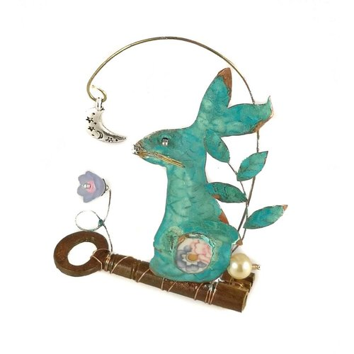 Beastie Assemblage Small Hare with Moon on Key  Assemblage 021