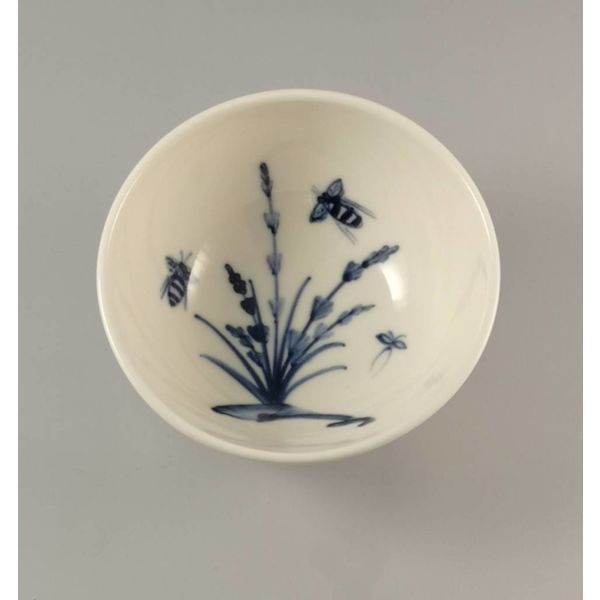 Abejas en porcelana lavanda pintadas a mano cuenco 016
