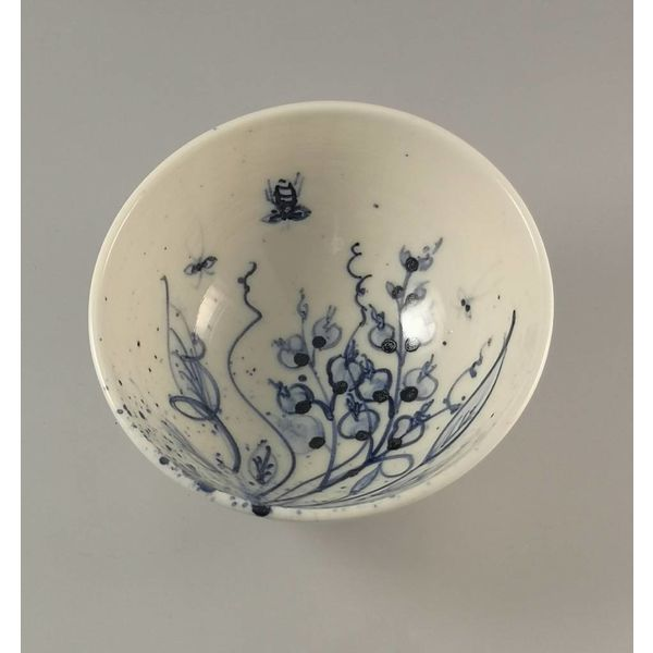 Tazón de abejas pintadas a mano de porcelana Tiny 007