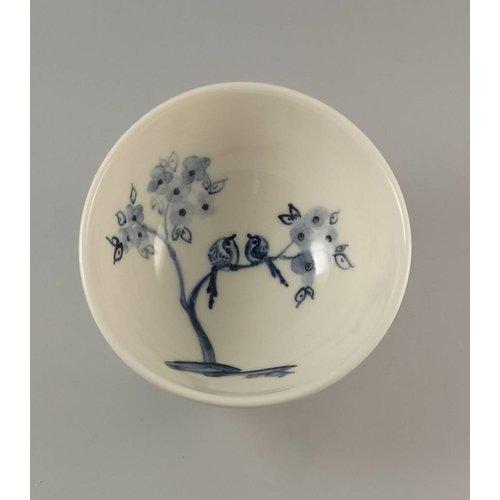 Mia Sarosi Vögel und Blüte Kleine handgemalte Porzellanschüssel 012