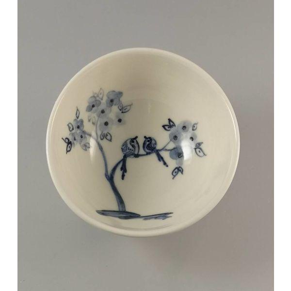 Birds and Blossom  Tiny porcelain  hand painted bowl 012