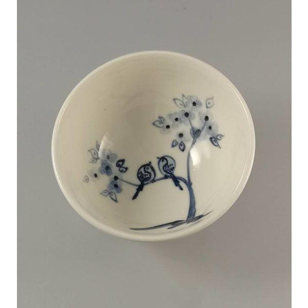 Pájaro en rama porcelana pintada a mano cuenco 013