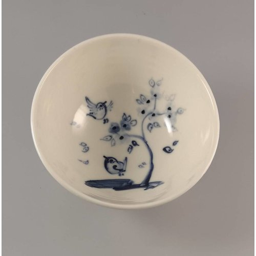 Mia Sarosi Birds with cherry  Tiny porcelain  hand painted bowl 010