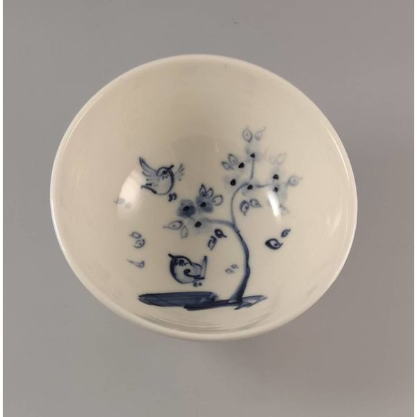 Birds with cherry  Tiny porcelain  hand painted bowl 010