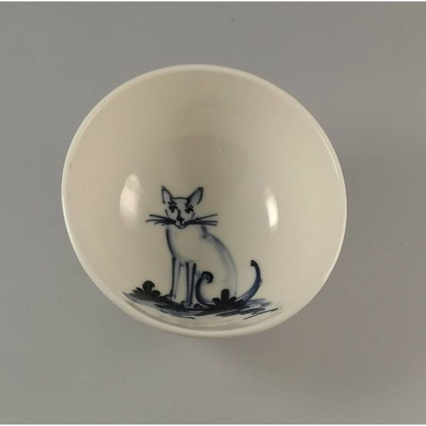 Cat sitting - Tiny porcelain  hand painted bowl 002