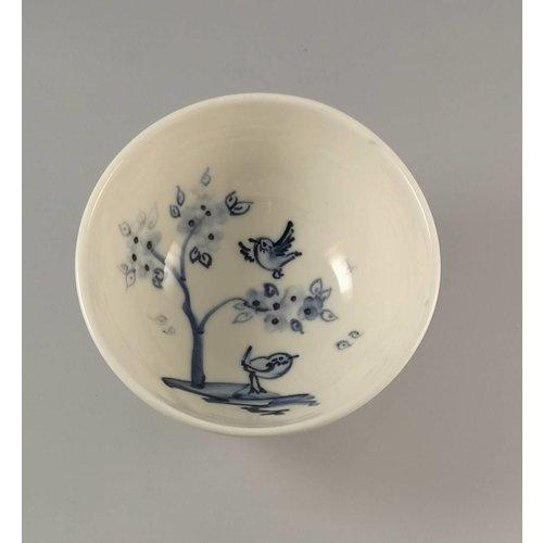 Mia Sarosi Cherry Tree Birds Tazón de porcelana pintada a mano 011