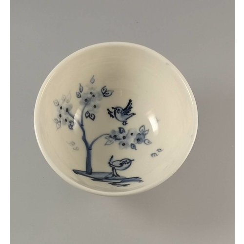 Mia Sarosi Cherry Tree Birds  Tiny porcelain  hand painted bowl 011
