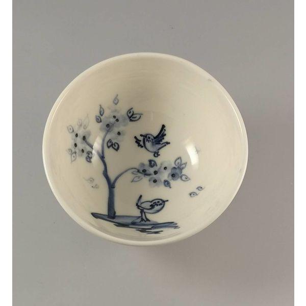 Cherry Tree Birds  Tiny porcelain  hand painted bowl 011