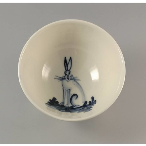 Mia Sarosi Hare Sitting - Tiny porcelain  hand painted bowl 001