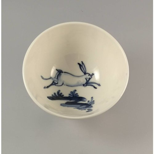 Mia Sarosi Leaping Hare porcelain  hand painted bowl 015