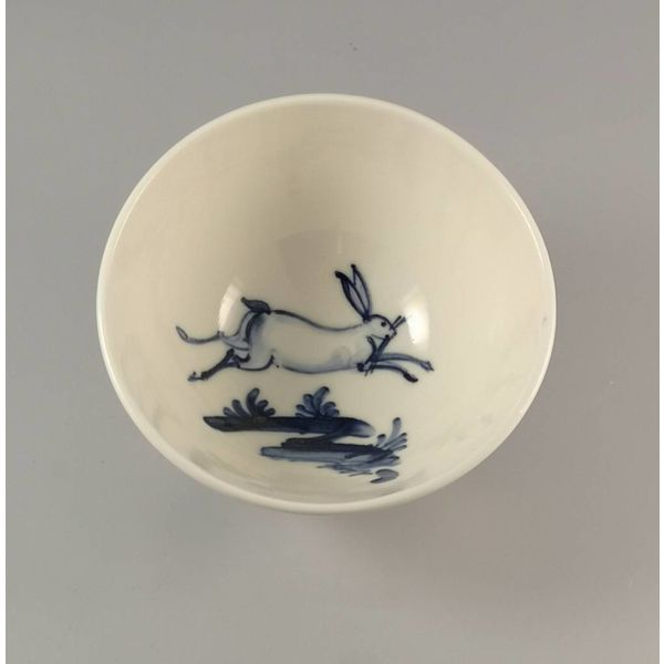 Leaping Hare porcelain  hand painted bowl 015
