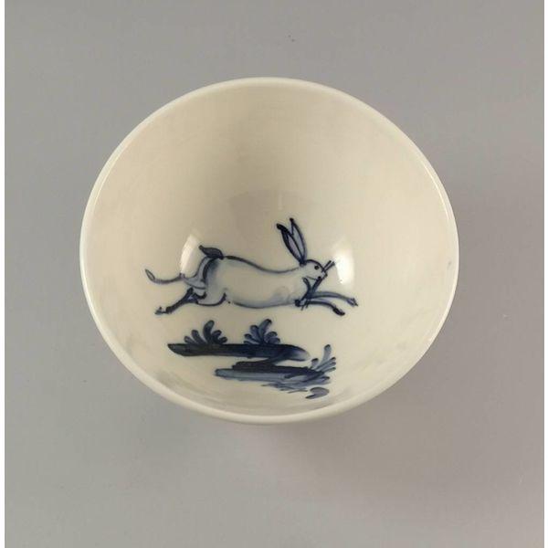 Tazón de porcelana salta liebre pintada a mano 015