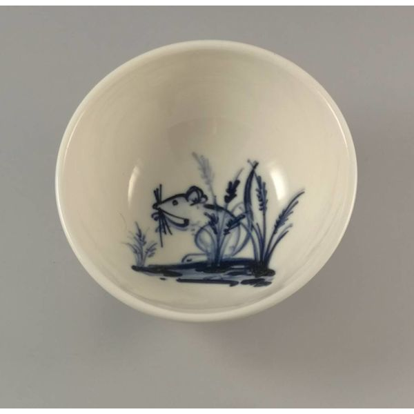 Mouse in lavender porcelain  hand painted bowl 017
