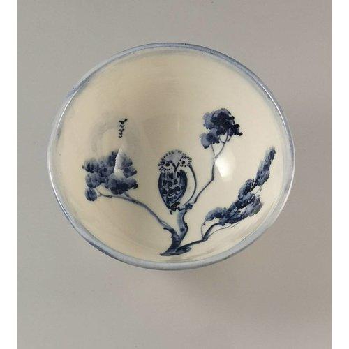 Mia Sarosi Cuenco de porcelana Owl Tiny pintado a mano 004