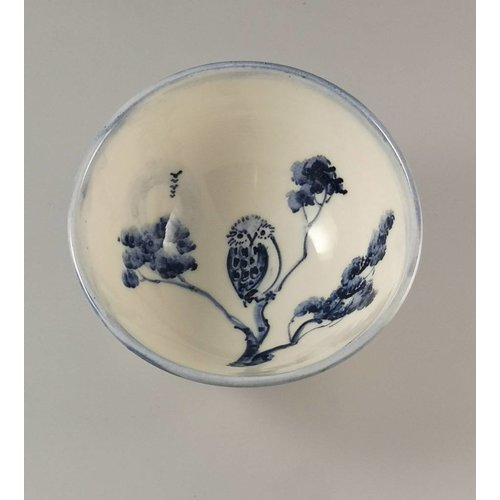 Mia Sarosi Owl Tiny porcelain  hand painted bowl 004