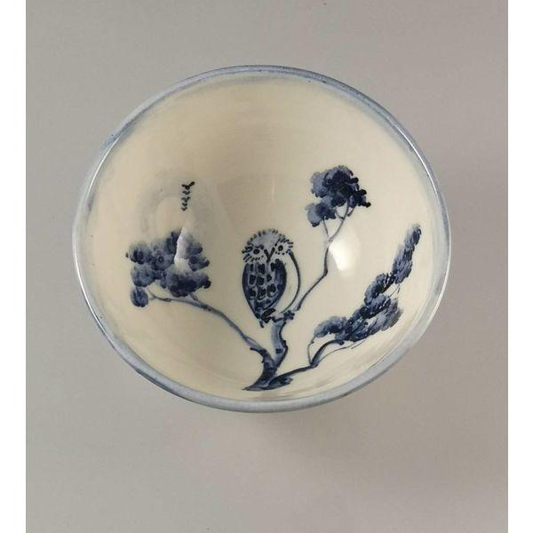 Cuenco de porcelana Owl Tiny pintado a mano 004