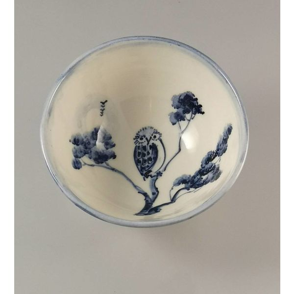 Owl Tiny porcelain  hand painted bowl 004