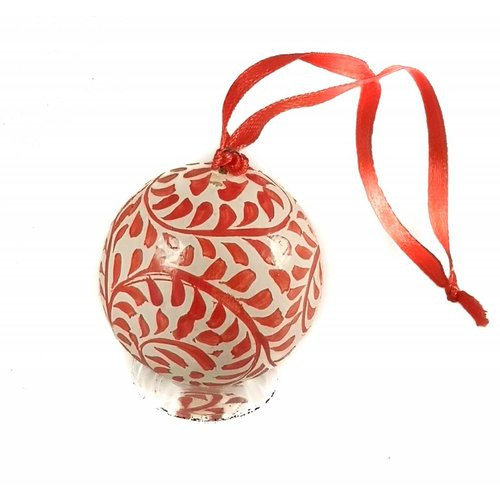 New Overseas Traders Bauble Red & white mini  paper mache 4.5cm