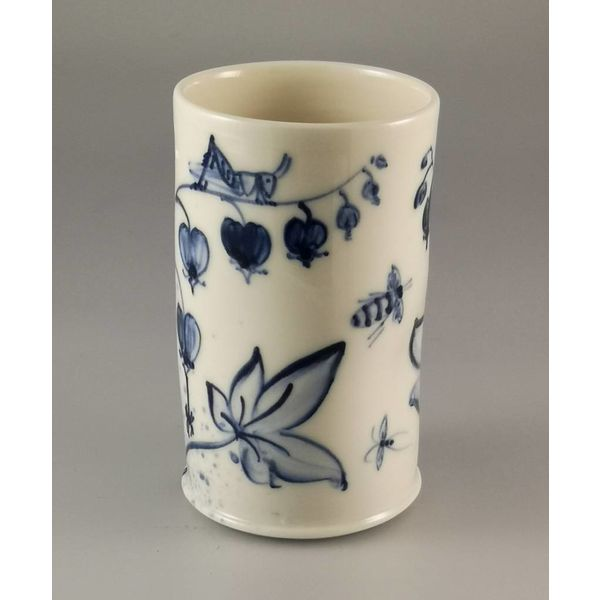 Bee and Grasshopper Posy Pot porcelain  hand painted  026