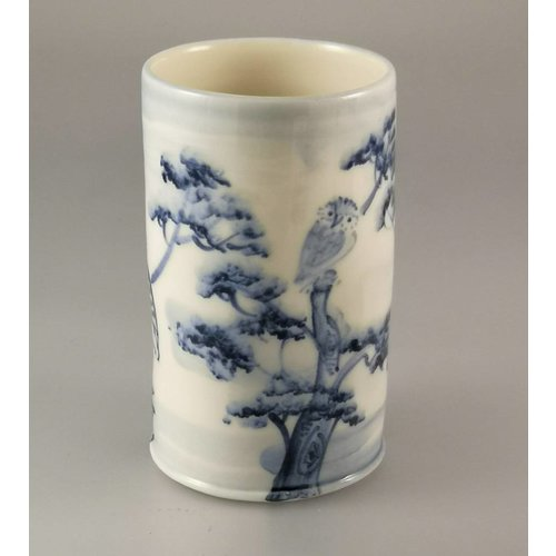 Mia Sarosi Owls in trees Posy Pot porcelain  hand painted 024