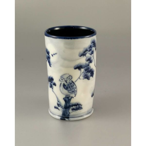 Three owls Posy Pot porcelain  hand painted 023