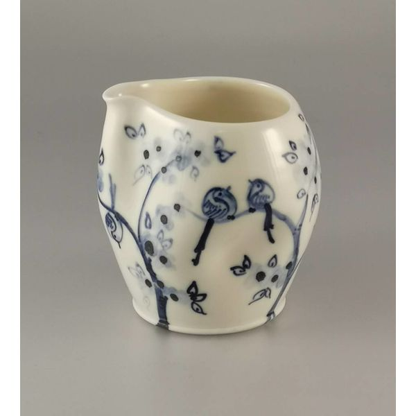 Birds in blossom porcelain  hand painted  pouring jug 033