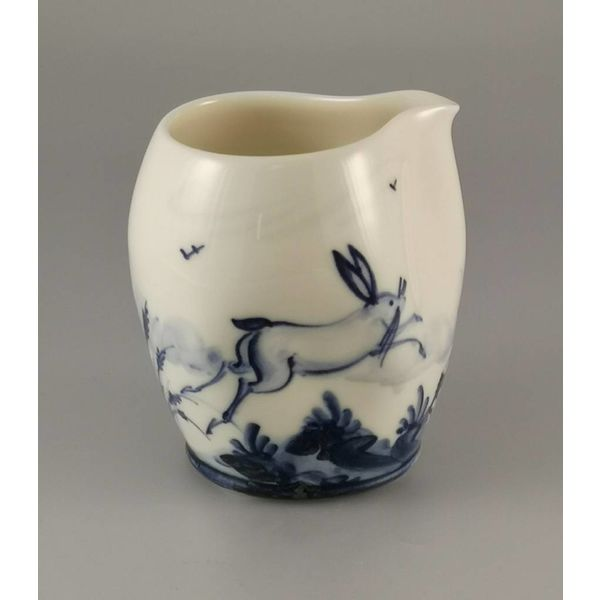 Leaping hares  porcelain  hand painted  pouring jug 029