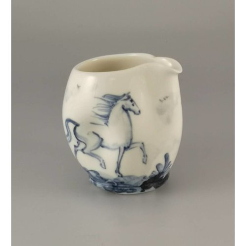 Mia Sarosi Two Horses  porcelain  hand painted  pouring jug 028