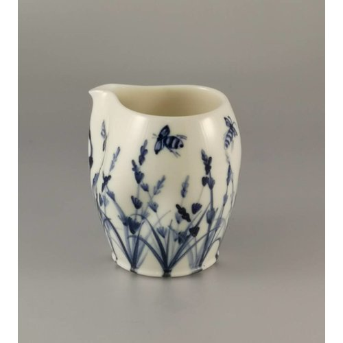 Mia Sarosi Bees in lavender  porcelain  hand painted  pouring jug 030