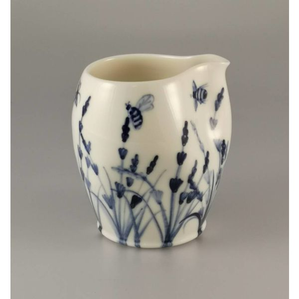 Bees in lavender  porcelain  hand painted  pouring jug 030