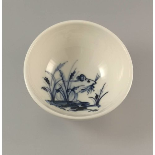 Mia Sarosi Mouse Hiding in lavender porcelain  hand painted bowl 018