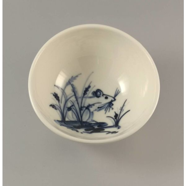 Mouse Hiding in lavender porcelain  hand painted bowl 018