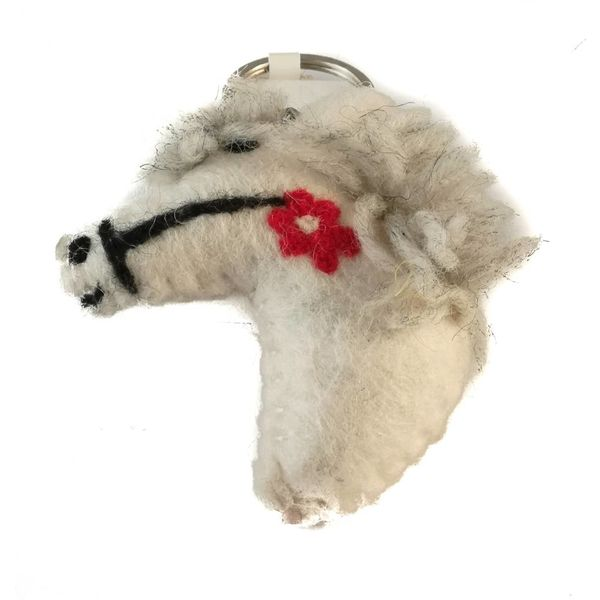 Pony white keyring